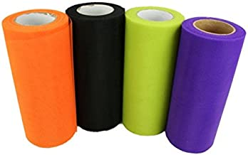 """HALLOWEEN Set of 4 Rolls 6"""" TULLE 25 yds each (100 Yards Total) (6"""" TULLE - 4 Roll Set)"""