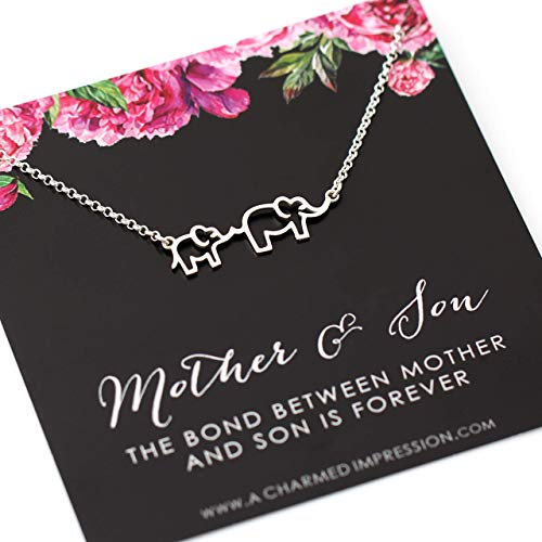 Boy Mom Gift • Mother & Baby Elephant Necklace • 925 Sterling Silver • Expecting Pregnancy Push Present • New Mommy • Family Charm • Strong Single Mama • The Bond Between Mother & Son is Forever