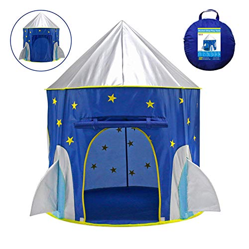 MXYPF Space Capsule Kids Play Tent, Rocket-shaped Castle Toy House, Accommodate 2-3 Children, Indoor Outdoor Playhouse for Girls Boys