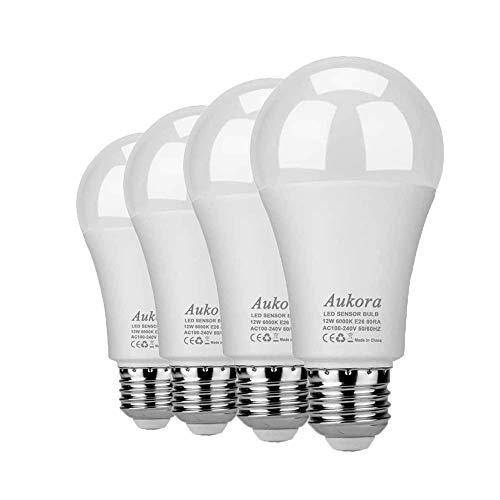 Aukora Dusk to Dawn Light Bulb 4 Pack, 12W (100-Watt Equivalent 1000lm) Smart Sensor Light Bulbs indoor E26/E27 6000K Daylight A19 Led outdoor Light Bulb for Porch YardGarage Garden Patio(Cool White)