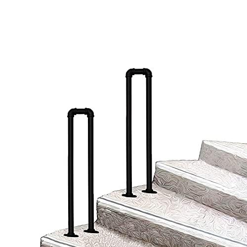 Handrail de transición en forma de U Industrial para pasos al aire libre o en interiores, barandilla de escalera para pasos de concreto o escaleras de madera, Picket Picket Fits 1 paso - Corredor de s