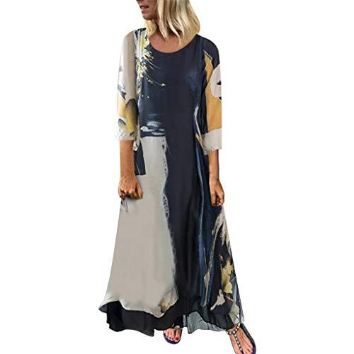 Allegorly Robe Femme en Coton Et Lin,Robe Longue Femme Grande Taille Manche Courte Col O Dégradé Patchwork Ete Bohême Boho Bloc de Couleur Coton Lin Plage Maxi Dress
