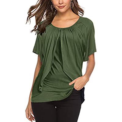 RAINED-Womens Swing Tops V Neck T-Shirts Ruffle Blouses Pleated Tunic Blouse Casual Flowy Loose Short Sleeve Shirts
