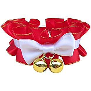 Lace Cat Collar Pet Wedding Collars Adjustable Bowtie Festive Christmas Holiday Pet Grooming Accessories