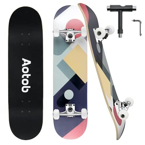 HOMOVE Skateboard, 31 Zoll x 8 Zoll, ausgestattet mit ABEC-9 Lagern, 95A rutschfestes Longboard Skateboard, geeignet für Erwachsene und Kinder