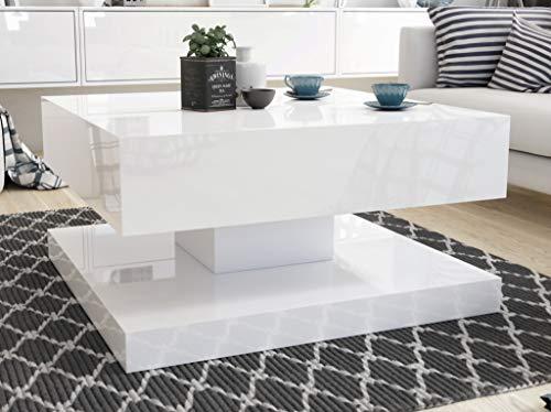 Sellon24/Signal Couchtisch Weiß Hochglanz/Matt Kaffeetisch Acryl 80x80 modern Qualität Gemin