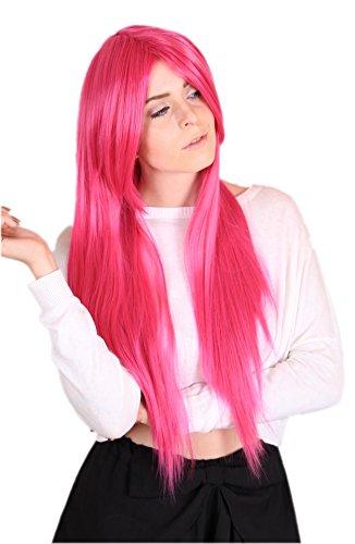 Prettyland Perruque 80cm Longue Rose Vif Pink Raide Frange Droite Résistant à Chaleur Cosplay Fée Manga C116
