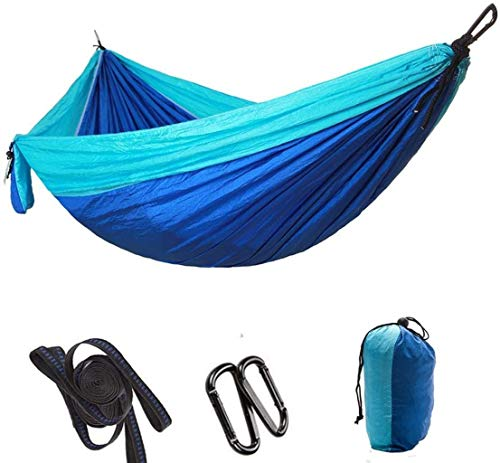 KAIGE Hammock Double Camping Hammock Parachute Cloth Hammock Outdoor Camping Swing Multicolor Outdoor Travel Equipment,Blue WKY (Color : Blue)