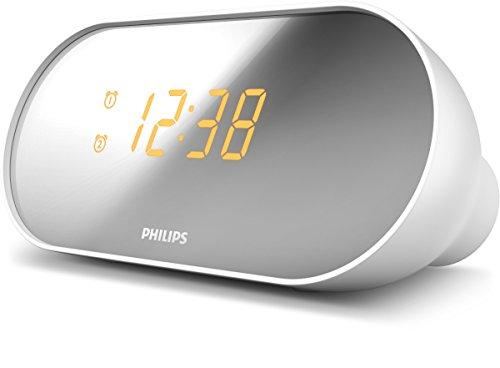 Philips AJ2000/12 Radiodespertador, FM Radio (Alarma Dual, Repetición de Alarma, Alarma Suave, Temporizador, Diseño Compacto, Batería de Reserva) Blanco