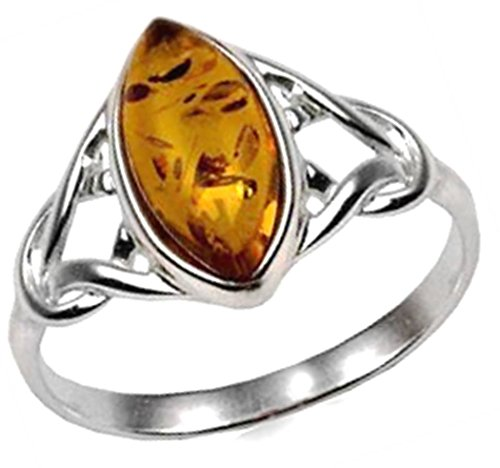 Amber Sterling Silver Celtic Ring Marquise Shape
