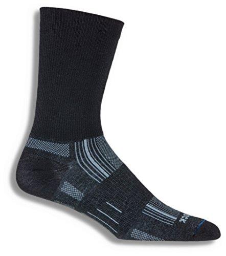 Wrightsock Anti Blister Double Layer Stride Running Crew Socks,Black,Small