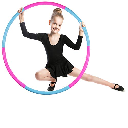 of professional hula hoops Kids Hoola Hoop Detachable & Size Adjustable, Professional Weighted Colorful Hoola Hoop,Premium Quality Professional Hula Rings for Kids,Toy Gifts,Gymnastics,Lose Weight,Adults Fitness,Girls,Boys