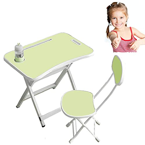 LIANGZHI Writing Desk, Childrens Dining Table, Learning Desk, Dining Table, Foldable Table and Chair, X-Shaped Bold Bracket, Stable and not Deformed for 3-15 Years Old Students (Medium Size Green)