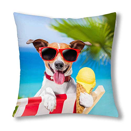 N\A Funny Jack Russell Dog Eating Ice Cream on Summer Beach Cushion Case Pillow Cover with, Zippered Throw Pillowcase for Bedroom Sofa Decor