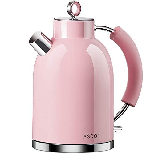Hervidor de agua de acero inoxidable ASCOT, hervidor electrico de 2200 W, 1,6 litros, diseno retro, tetera inalambrica, sin BPA, proteccion contra ebullicion en seco, apagado automatico, color rosa