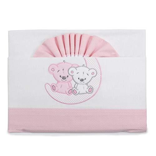 Pekitas - Set di lenzuola di flanella, per neonati, 3pezzi, per lettino da 60x 120 cm,100% cotone, prodotte in Portogallo Cuna rosa-bianco,culla 60 x 120