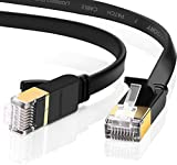 UGREEN Cable de Red Cat 7, Cable Ethernet Network LAN 10000Mbit/s con Conector RJ45 (10 Gigabit, 600MHz, Cable FTP), Compatible con Cat 6, Cat 5e, Cat 5, Cable Plano (10 Metros)