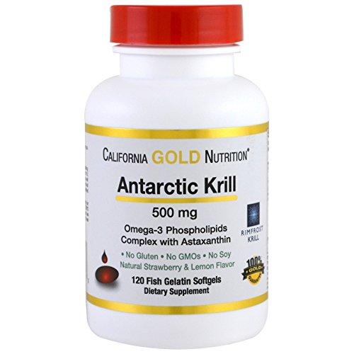 California Gold Nutrition, Antarctic Krill Oil w/Astaxanthin, RIMFROST Krill, Natural Strawberry & Lemon Flavor, 500mg, 120 Fish Gelatin Softgels, Milk-Free, Gluten-Free, Soy-Free, Wheat-Free, CGN