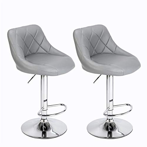 Taburete de bar ajustable, juego de 2 taburetes de bar de piel sintética, taburetes de desayuno a 360 grados para muebles de mostrador/cocina (gris)