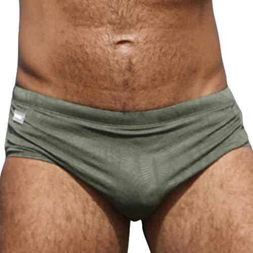 Taddlee Swimwear Mens Swim Briefs Bikini Swimsuits Quick Dry Boardshorts Surfing (M fit Waist 31-33 inch) Green