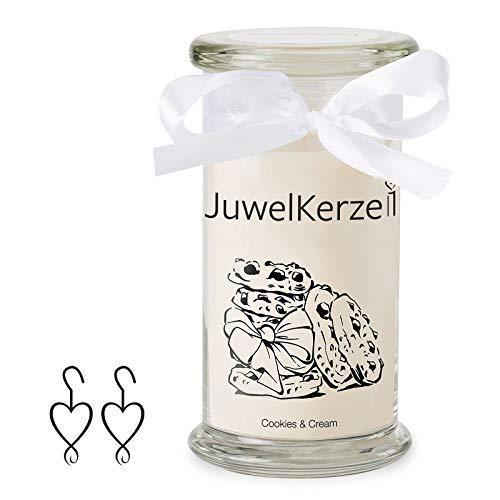JuwelKerze Schmuckkerze 'Cookies & Cream' große beige Duftkerze mit echtem Silber Schmuck (Ohrringe) - Kerze mit Schmucküberraschung als Geschenk für sie