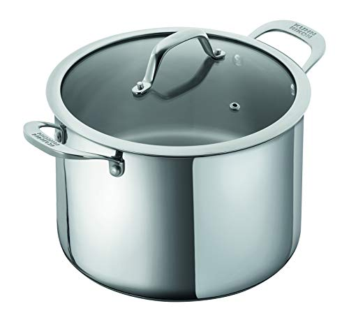 KUHN RIKON Allround Oven-Safe Induction Casserole Pot with Glass Lid, 8.5 litre/24 cm, Stainless Steel, Silver