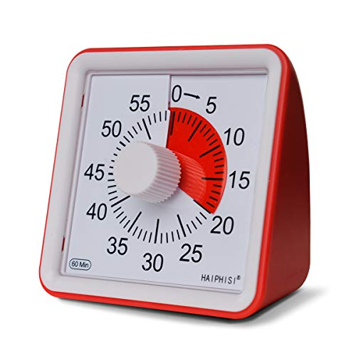60 Minute Visual Timer,Classroom Countdown Clock,Silent Timer for Kids and Adults,Time Management Tool for Homework Teaching Meeting Games and Cooking(Red)