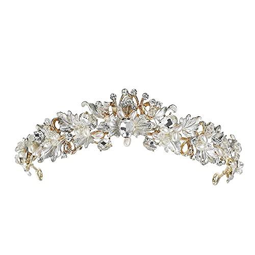 TYUXINSD Hermosa Crown Tiaras Baroque Flame Flame Accesorios para el Cabello Pegeant Crown para la Boda de la Boda Coronas Crowns Damas Headwear (Color: Gold) (Color : Gold)