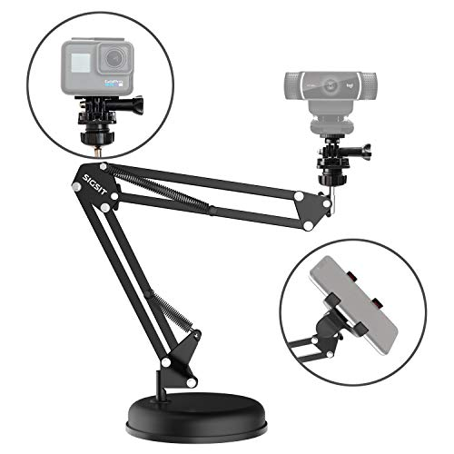 SIGSIT Desktop Webcam Stand Suspension Boom Scissor Arm Stand with Base for Logitech Webcam C922 C930e C930 C920 C615, Gopro Hero 7/6/5/4 and Cellphone