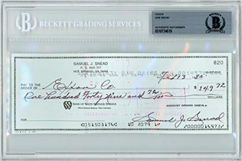 Sam Snead Autographed 3x8 Check Signed In Black Beckett BAS Stock #139095 - Golf Cut Signatures