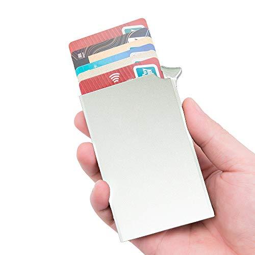 Panavage クレジットカードケース スキミング防止 磁気防止 スライド式 スリム 男女兼用 6枚収納 (銀色)