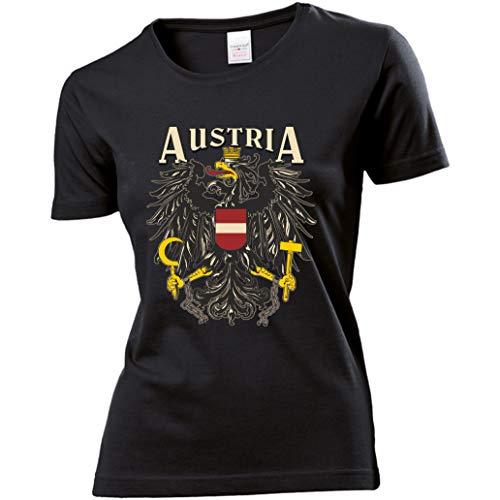 Damen T-Shirt - Österreich - Aufdruck: Austria mit Staatswappen/Adler (Weiß, S) (Medium)
