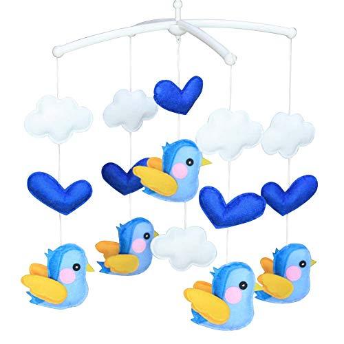 PANDA SUPERSTORE Blue Birds Baby Crib Mobile Fatto a Mano in Tessuto Non Tessuto Musicale Mobile Culla Toy Nursery Room Decor