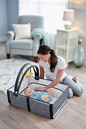 Image of Graco Pack 'n Play Anywhere Dreamer Playard with Bassinet That Easily Converts to Tummy Time Play Mat with Included Toy Bar to Entertain Baby,Hattie,Convenient Carrying Bag Included