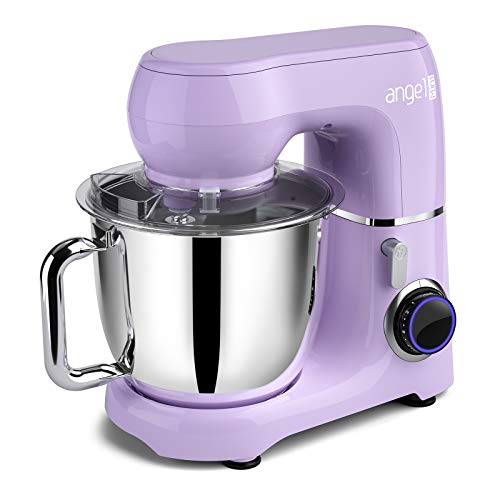 Mini angel Stand Mixer10Speed 55QT Kitchen Electric Mixer with DIY Color StickersTiltHead Food Mixer with Dough Hook Wire Whisk Flat Beater Stainless Steel Bowl  Lavender