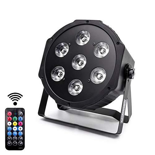 Par Bühnenlicht, 7x 5w LED RGBW 4-in-1 Disco Licht DMX512 mit Ferngesteuerter, Automatischer Sound DMX Steuerung für Disco DJ Party Hochzeit Kirche (1 PCS)