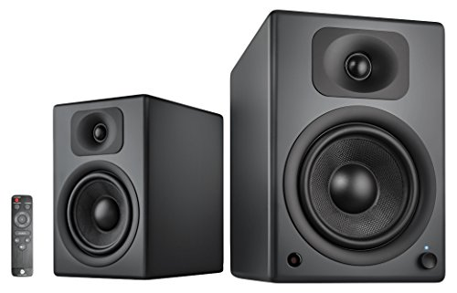 wavemaster TWO PRO stone gray – Regallautsprecher-System (110 Watt) mit Bluetooth-Streaming, digitalen Anschlüssen und IR-Fernbedienung Aktiv-Boxen Nutzung für TV/Tablet/Smartphone, dunkelgrau (66352)