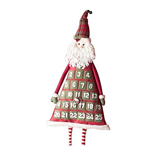 JJH 2021 Calendario de Adviento, Calendarios de Pared Retro Retro Decoraciones de Navidad, 25 días Calendario de Cuenta Regresiva de Navidad, 36x88cm (Color : Santa Claus)