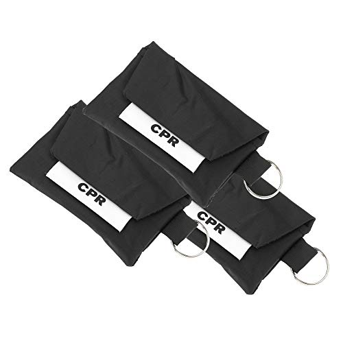 3 PACK CPR Face Mask Key Chain Kit With Gloves | One Way Valve Face Shield Mask, First Aid Kit by AsaTechmed || For Travel, Home, Office, Boat, Car, EMS, Firefighters, Nurses, First Responders (Black)