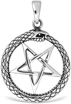 WithLoveSilver 925 Sterling Silver Celtic Pentagram Pentacle Star Ouroboros Serpent Hoop Snake product image