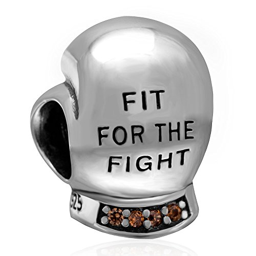 ABUN Fighting Boxing Glove Charm 925 Sterling Silver Sports Charm with Champagne Stone for Charms Bracelets