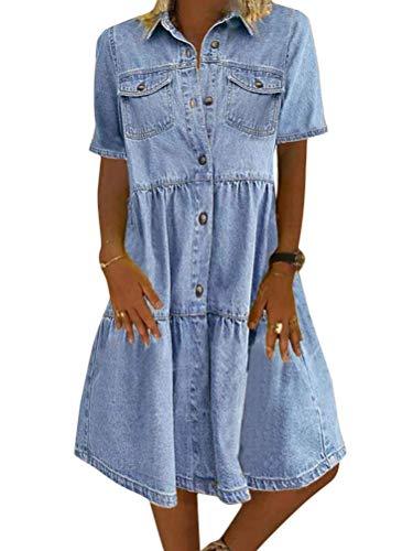 Jeanskleid Sommerkleid Damen Jeans Kleider V-Ausschnitt Kurzarm Strandkleider Einfarbig A-Linie Kleid Boho Knielang Kleid Denimkleid (Hellblau-1, XXL)