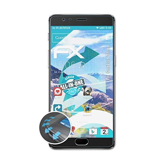 atFolix Schutzfolie kompatibel mit OnePlus Three Folie, ultraklare und Flexible FX Displayschutzfolie (3X)