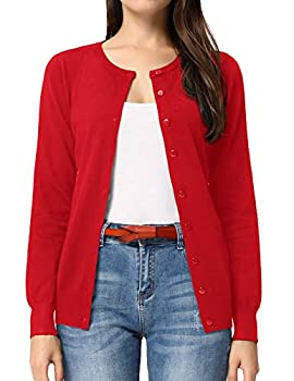 GRACE KARIN Button up Cardigan Sweaters for Teen Girls  S,Red