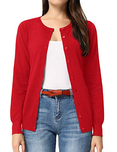 GRACE KARIN Button up Cardigan Sweaters for Teen Girls (S,Red)