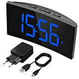 PICTEK Digitaler Wecker, Wecker Digital, 5' LED-Display, Randlos Kurve, 6 Helligkeit, 3 Alarmtöne, 2 Lautstärke, USB-Ladeanschluss, Ultraklare Blaue Ziffern, Snooze, 12/24H (Inkl.Adapter)