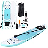 Inflatable Stand Up Paddle Board with Free SUP Accessories and Backpack - 10 FT Surfboard - Adjustable Fin Paddle - Youth & Adult Standing Boat | Extra Wide Double PVC Wall Max Capacity 240 LB