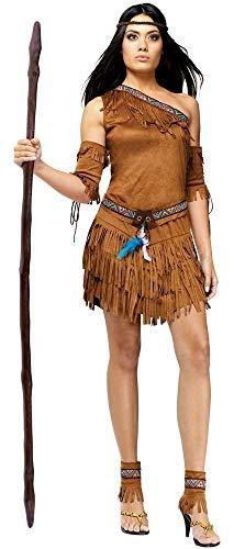 shoperama 5-teiliges One-Shoulder Indianerin Damen Kostüm in Wildleder-Optik Gr. S/M Erwachsene Squaw Kleid, Größe:M/L