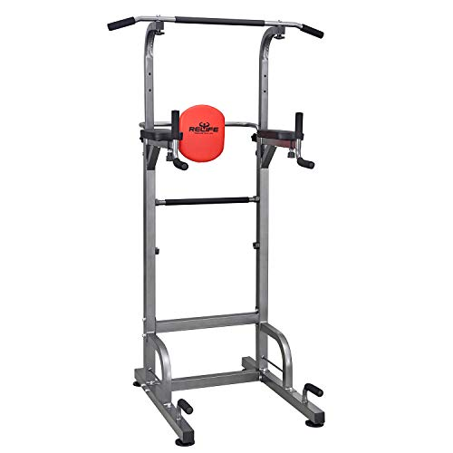 RELIFE REBUILD YOUR LIFE Power Tower Workout Dip Station for Home Gym Strength Training Fitness...