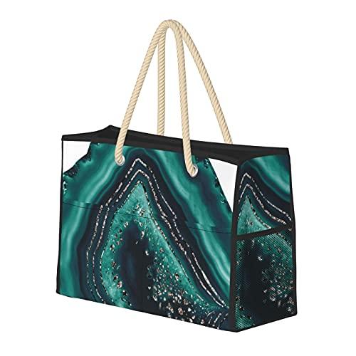 Bolsa de playa grande y bolsa de viaje para mujer – Bolsa de piscina con asas, bolsa de semana y bolsa de noche – verde azulado ágata oro rosa brillo Glam Gem Decor Art